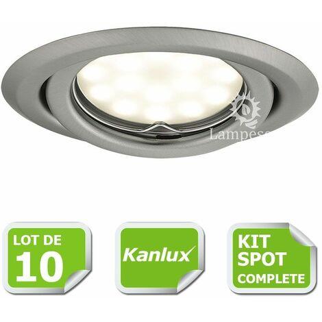 Kit complete de 10 Spots encastrable chrome mat orientable marque Kanlux avec GU10 LED 5W blanc froid 6000K