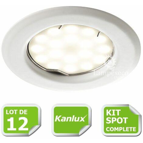 Kit complete de 12 Spots encastrable blanc marque Kanlux avec GU10 LED 5W Blanc Chaud