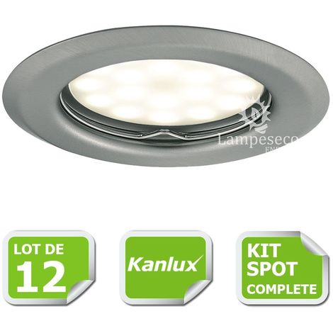 Kit complete de 12 Spots encastrable chrome mat marque Kanlux avec GU10 LED 5W Blanc Chaud