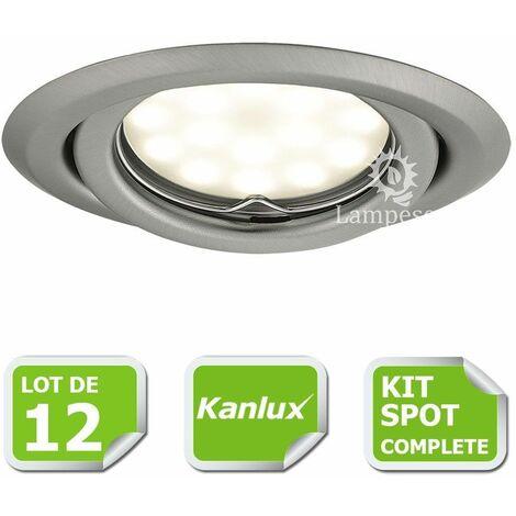 Kit complete de 12 Spots encastrable chrome mat orientable marque Kanlux avec GU10 LED 5W blanc froid 6000K