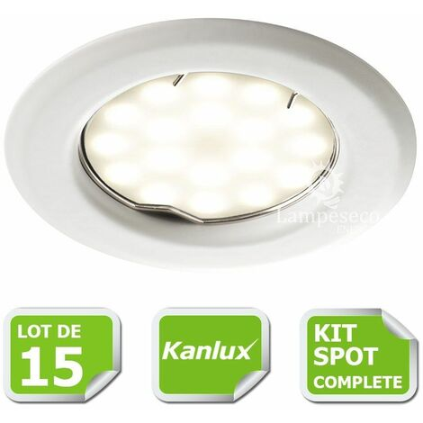 Kit complete de 15 Spots encastrable blanc marque Kanlux avec GU10 LED 5W Blanc Chaud