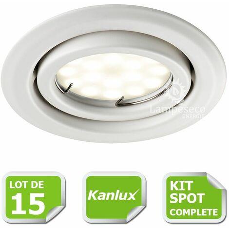 Kit complete de 15 Spots encastrable blanc orientable marque Kanlux avec GU10 LED 5W Blanc Chaud
