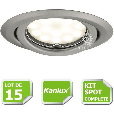 Kit complete de 15 Spots encastrable chrome mat orientable marque Kanlux avec GU10 LED 5W 3000K blanc chaud