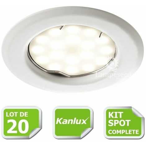 Kit complete de 20 Spots encastrable blanc marque Kanlux avec GU10 LED 5W Blanc Chaud