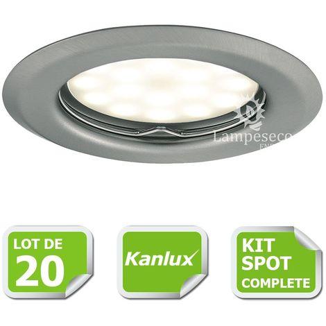Kit complete de 20 Spots encastrable chrome mat marque Kanlux avec GU10 LED 5W Blanc Chaud