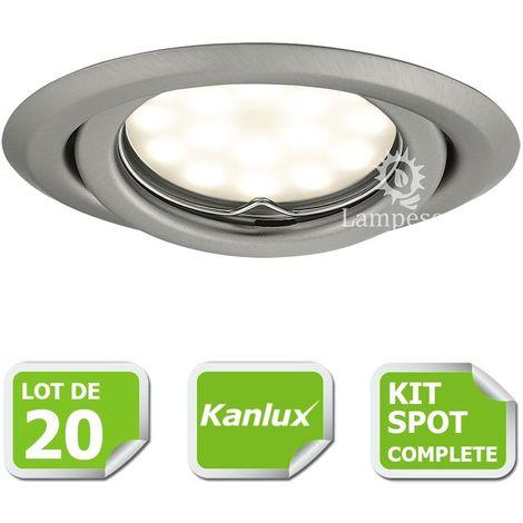 Kit complete de 20 Spots encastrable chrome mat orientable marque Kanlux avec GU10 LED 5W 3000K blanc chaud