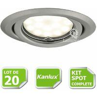 Kit complete de 20 Spots encastrable chrome mat orientable marque Kanlux avec GU10 LED 5W 3000K blanc froid 6000K