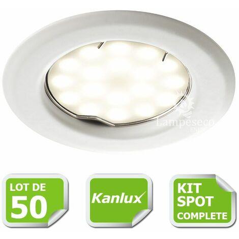 Kit complete de 50 Spots encastrable blanc marque Kanlux avec GU10 LED 5W Blanc Froid 6000K