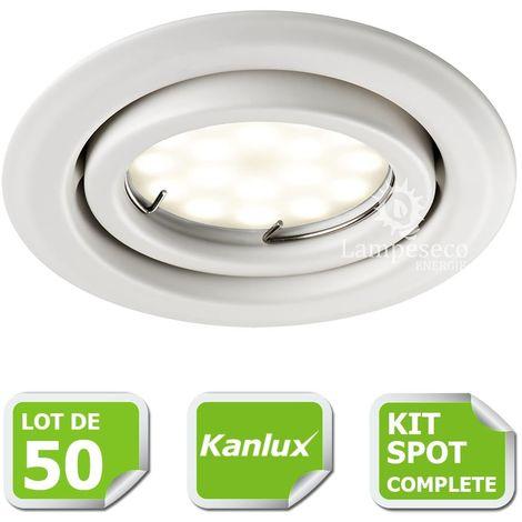 Kit complete de 50 Spots encastrable blanc orientable marque Kanlux avec GU10 LED 5W Blanc Chaud
