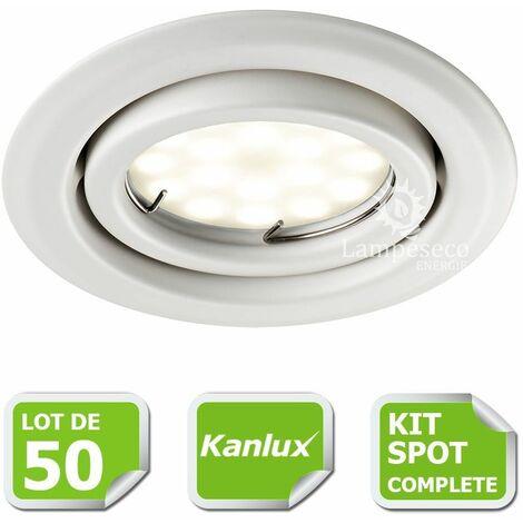 Kit complete de 50 Spots encastrable blanc orientable marque Kanlux avec GU10 LED 5W Blanc Froid 6000K
