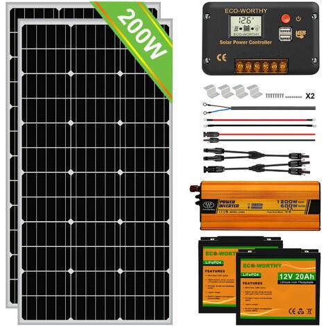 Kit completo de panel solar de 200W Batería recargable de litio LiFePO4 de 20Ah 12V