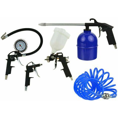 kit compresor con pistola aire con manometro de coche,manguera,pintar,petrolear 5 piezas