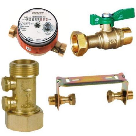 Kit compteur eau chaude avec robinet compteur NF, clapet anti-pollution - Sferaco
