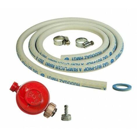 Kit connexion gaz complet pour Appareils à gaz ( Détendeur PROPANE 37 mbar + tuyau souple 1.50m + embout tétine )