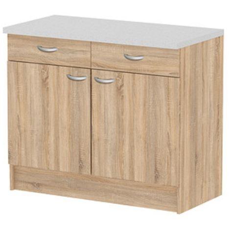 Kit cucina base 2 ante + 2 cassetti 98x50x85h top grigio finitura quercia - Capaldo