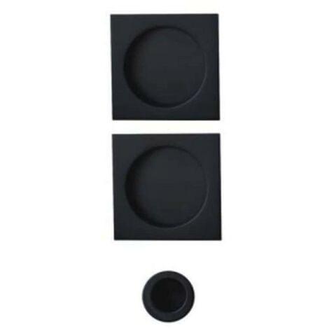 Kit cuvettes carrées pour portes coulissantes - Bec de cane - Noir