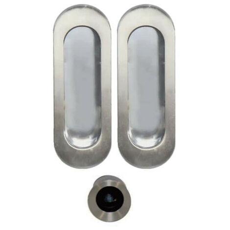 Kit cuvettes ovales pour porte à galandage - Bec de cane - Inox