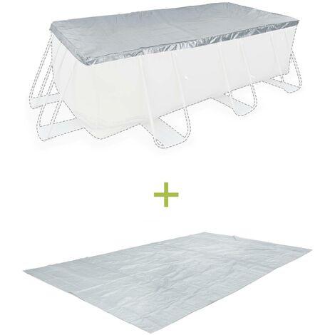 Kit d'accessoires pour piscine hors sol rectangulaire 4x2m - bâche de protection et tapis de sol
