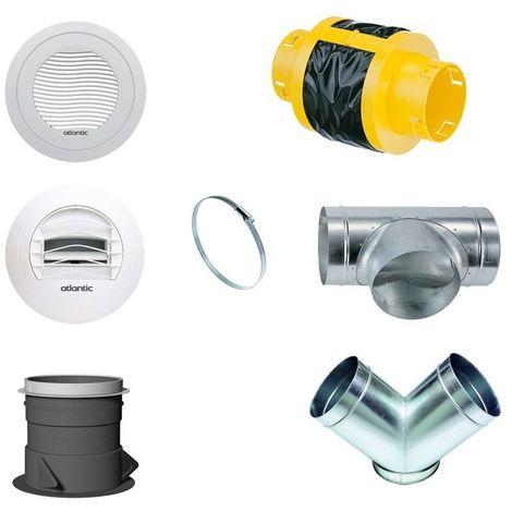 Kit d'accessoires pour VMC Atlantic Duocosy HR installation linéaire - Double Flux - 7 piquages - Gris et blanc et jaune