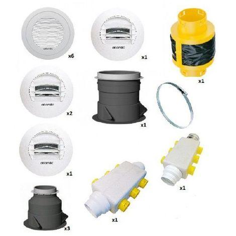 Kit d'accessoires VMC Atlantic Duocosy HR pour une installation pieuvre - Double Flux - 4 piquages - Blanc - Blanc