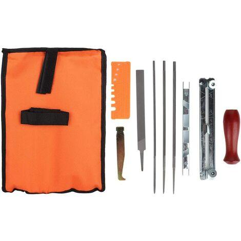 Kit d'affûtage de tronçonneuse, 10Pcs Kit de fichier d'affûteuse de tronçonneuse Chaîne d'affûteuse de chaîne Jeu de Barres de Guidage pour fichier de boiserie, Affûtage de métal