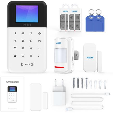 Kit D'Alarme Wifi + Gsm, Avec 1 Capteur De Porte + 1 Detecteur Pir + 2 Telecommandes + 2 Cartes Rfid, Prend En Charge Amazon Alexa Et Google Home/Nest/Commande Vocale Intelligente