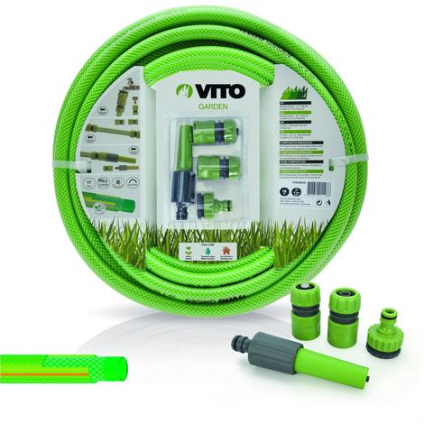 Kit d'arrosage jardin complet de 20 mètres et de diam 15mm composé d'un tuyau PVC renforcé tri couches - Vert