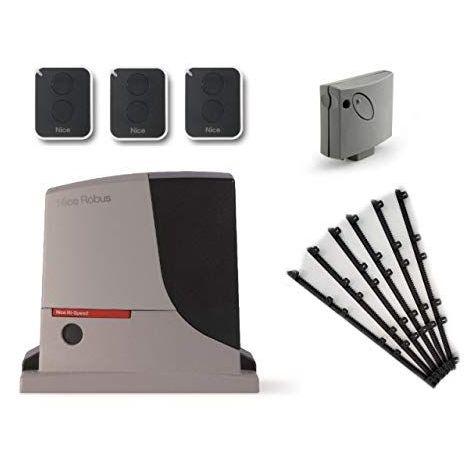 Kit d'automatisation NICE ROBUS 500 HS (RB500HS + SMXI + 3 X ON2E ) pour l'actionnement rapide de portails coulissants jusqu'a 8 m or 500 kg, 24 Vdc + 6m Cremaillere en nylon