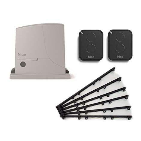 Kit d'automatisation NICE ROX600 + 2 X FLO2RE pour portails jusqu'a 600 kg + 6m Cremaillere Nylon