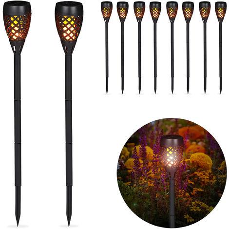 Kit de 10 Antorchas Solares de Jardín para Clavar al Suelo, Plástico, Negro, 78 cm
