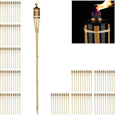Kit de 100 Antorchas Jardín de Aceite con Mecha, Bambú, Marrón, 90 cm
