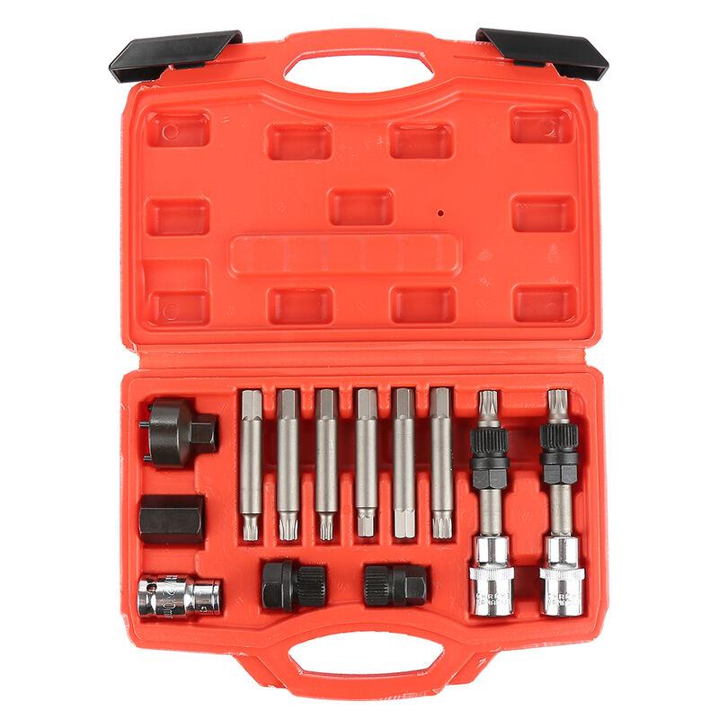 Kit de 13 douilles de retrait de poulie roue libre d'alternateur de verrouillage, écrous, clés de garage.