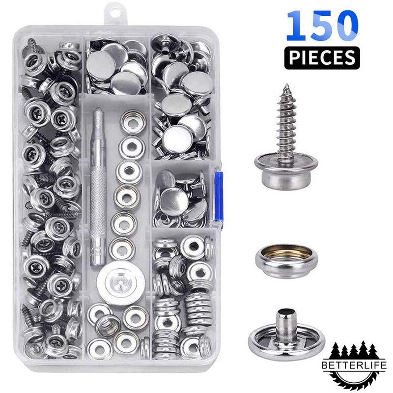 Kit de 150 boutons-pression en toile marine avec vis en métal pour bateau, douille de 9,5 mm avec 2 outils de réglage pour housse de bateau, meubles