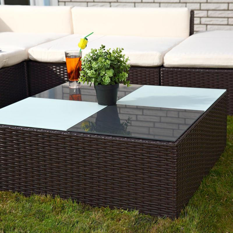 Kit de 16 pièces canapé sièges salon de jardin chaise longue de meubles en  osier, marron