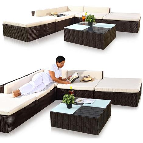 Kit de 16 pièces canapé sièges salon de jardin chaise longue de ...