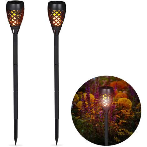 Kit de 2 Antorchas Solares de Jardín para Clavar al Suelo, Plástico, Negro, 78 cm