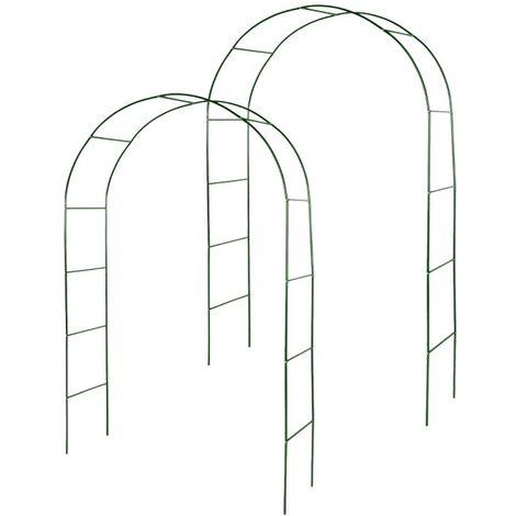 Kit de 2 arches de jardin métallique pour plantes grimpantes vert foncé