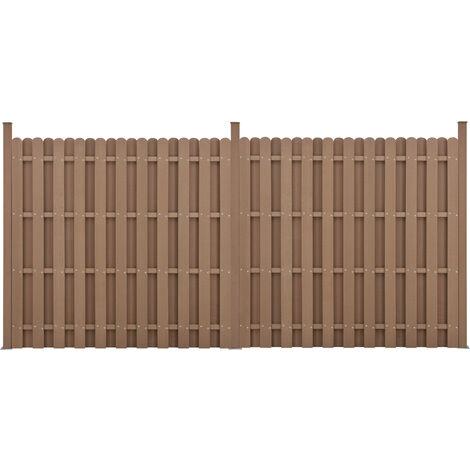 Kit de 2 Clôtures Barrière Brise Vue Brise Vent Bois Composite (WPC) Brun 185 x 376 cm
