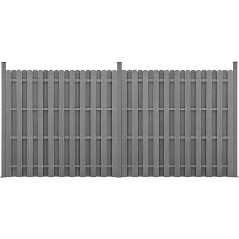 Kit de 2 Clôtures Barrière Brise Vue Brise Vent Bois Composite (WPC) Gris 185 x 376 cm