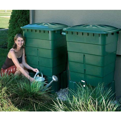 Kit de 2 cuves à eau rectangulaire 300 L coloris vert - Dim : H 92 x L 80 x P 66cm