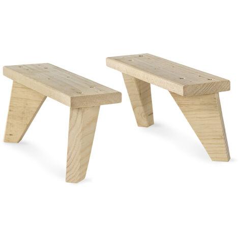 Kit de 2 patas de madera maciza de pino de 13,5 cm de Alto