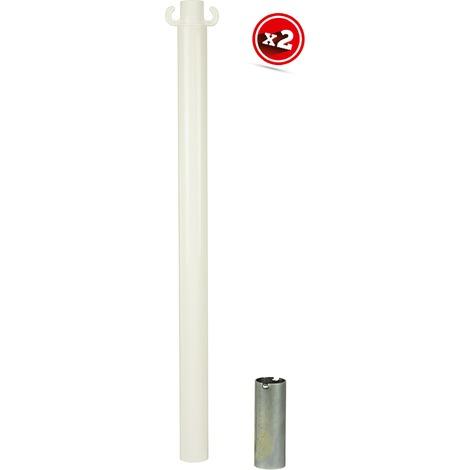 Kit de 2 poteaux acier Blancs avec manchon - 2223140