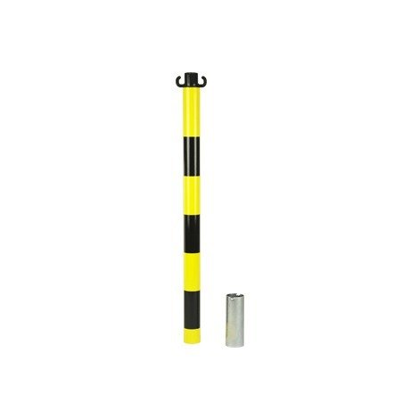 Kit de 2 poteaux acier Jaune/Noir avec manchon - 2223157