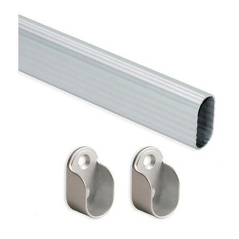 Kit de 2 tubes de penderie 30 x 15 mm en aluminium longueur 950 mm et supports pour armoire