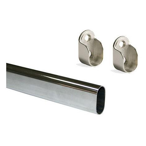 Kit de 2 tubes ovales 30 x 15mm en acier longueur 1.400 mm et supports Emuca pour armoire