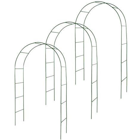 Kit de 3 arches de jardin métallique pour plantes grimpantes vert foncé