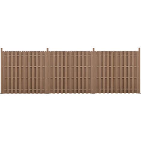 Kit de 3 Clôtures Barrière Brise Vue Brise Vent Bois Composite (WPC) Brun 185 x 562 cm