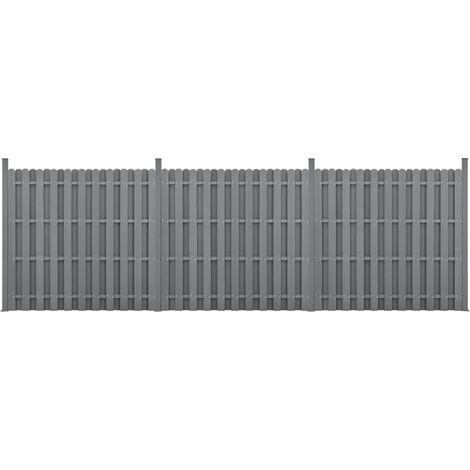 Kit de 3 Clôtures Barrière Brise Vue Brise Vent Bois Composite (WPC) Gris 185 x 562 cm