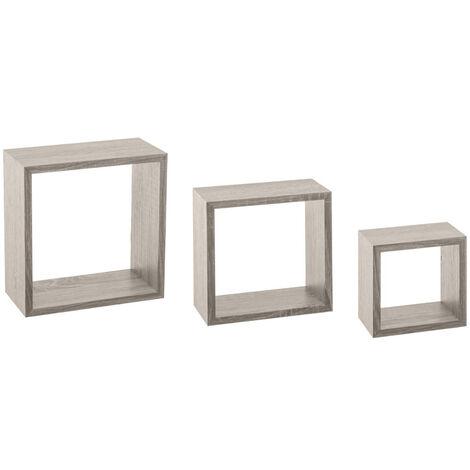 Kit de 3 étagères murales Cube chêne gris - Gris