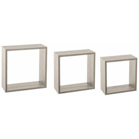Kit de 3 étagères murales Cube chêne gris - Multicolore